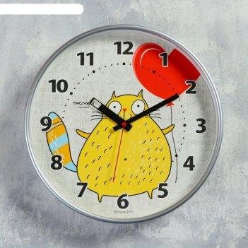 Часы настенные, серия: детские, кот с шариком, 30х30 см
