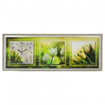 Часы-картина настенные, серия: цветы, белые тюльпаны, 35х100  см, микс