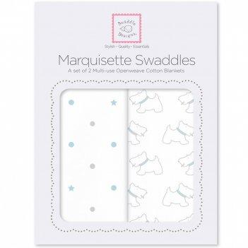 Наборы пеленок marquisette 2-pack pstl blue little doggie & dottie sta
