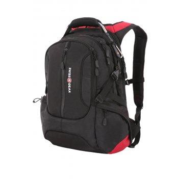 """Рюкзак swissgear, 15"""", черный/красный, полиэстер 1200d, 36х17х50 см, 30 л"""