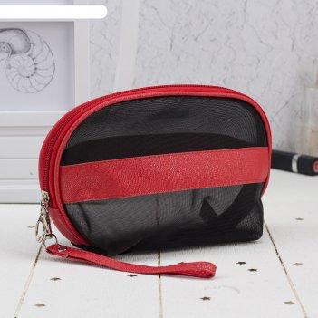 Косметичка-сумочка, отдел на молнии, с ручкой, цвет чёрный/красный