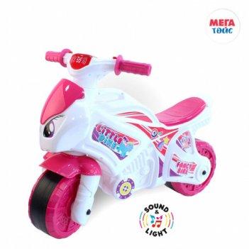 Т6368 каталка-мотоцикл беговел fancy bike, свет, цвет розовый