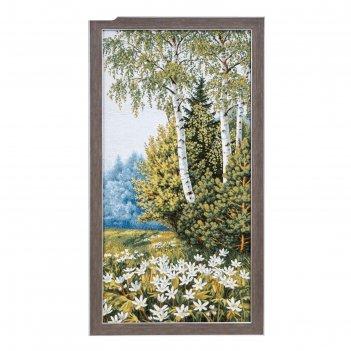Гобеленовая картина цветы на опушке 38*70 см
