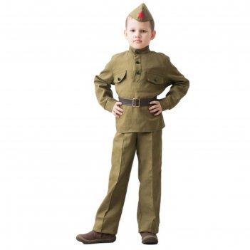 Костюм военного, гимнастёрка, ремень, пилотка, брюки, 8-10 лет, рост 140-1