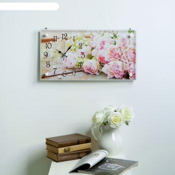 Часы настенные, серия: цветы, розы, 26х52  см, микс