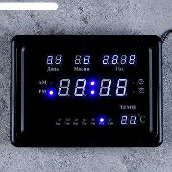 Часы-будильник настенные электронные календарь синие цифры, черный обод (о