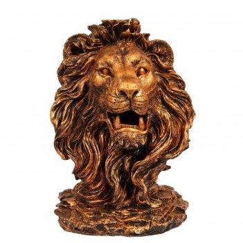 Садовая фигура голова льва огромная, медь