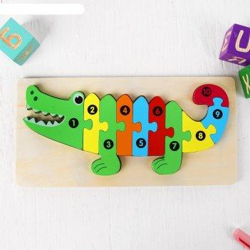 Пазлы по цифрам объёмные крокодил 1,5х30х15 см