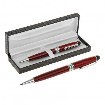 Ручка шариковая подарочная поворотная в кожзам футляре директор