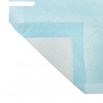 Пелёнка впитывающая детская подкладная, одноразовая, 90х60 см, цвет голубо