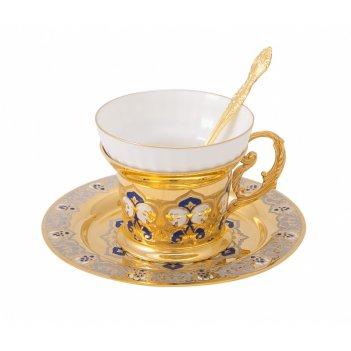 Набор чайный яблочко конфетное  ( тарель, чашка, ложка) златоу