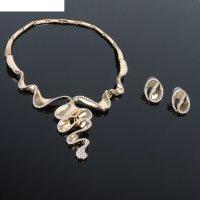 Набор 2 предмета: серьги, колье изгиб, цвет белый в золоте