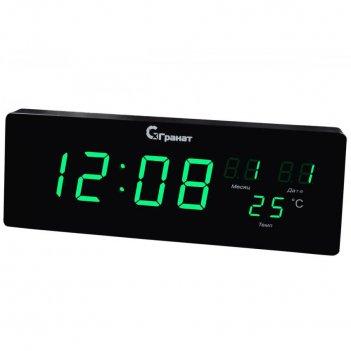 Настенные электронные сетевые часы гранат с-2512t-зел