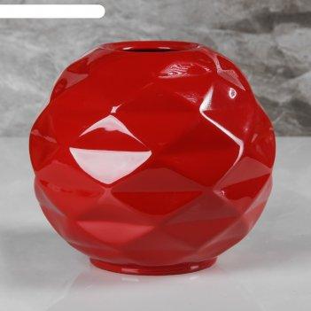 Ваза сфера, красный цвет, 16 см
