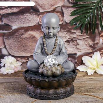 Фонтан настольный полистоун от сети свет маленький будда - медитация 30х20