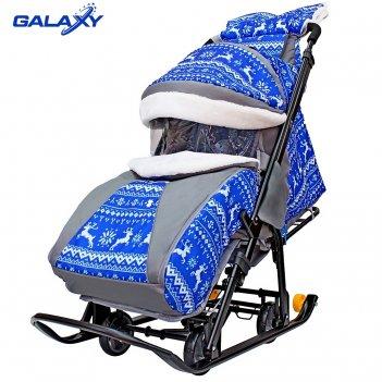 Санки-коляска snow galaxy luxe зимняя ночь олени синие на больших мягких к