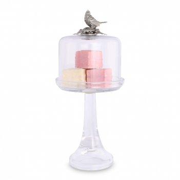 Блюдо для торта на ножке «птичья трель», диаметр: 33 см, материал: стекло,