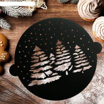 Трафарет для выпечки «зимний лес», 30 x 35 см
