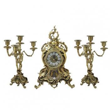 Часы антикварные каминные с маятником с канделябрами дон хуан ласу