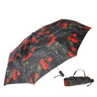 Зонт 23, полный автомат (красные цветы на черном)