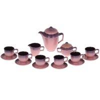 Сервиз кофейный градиент, 15 предметов (чашка 200 мл, чайник 500 мл, сливо