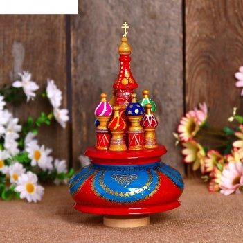 Сувенир-шкатулка музыкальная храм, 19х15,5 см, красно-голубая
