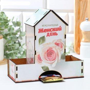 Чайный домик международный женский день с наклейкой, 20x19x9 см