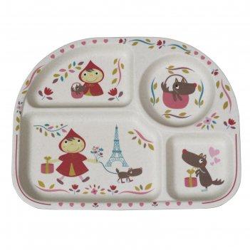 Бамбуковая тарелка с разделителями «красная шапочка»