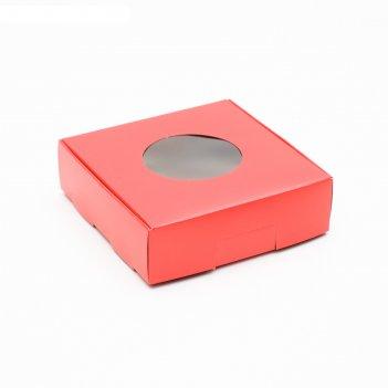 Коробочка для печенья, с окном, красная, 10 х 10 х 3 см
