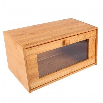 Хлебница с прозрачной дверцей 38,5х22х19 см, бамбук