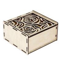 Шкатулка из фанеры для декупажа розы 15х14,5х8 см