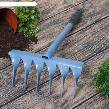 Грабли прямые, 6 витых зубцов, длина 40 см, пластиковая ручка