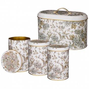 Набор agness royal garden хлебница  17,8*33,8*20 см, емкости  для сыпучих