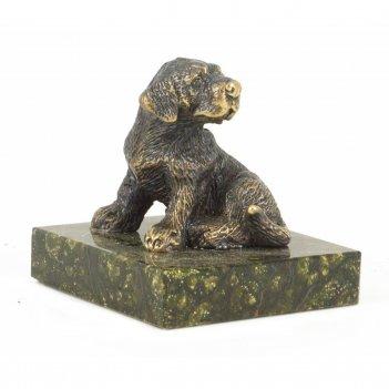 Статуэтка собачка средняя №1 бронза змеевик 50х50х55 мм 210 гр.