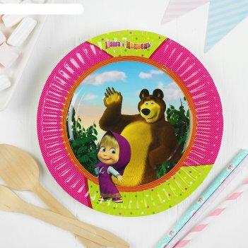 Тарелка бумажная маша и медведь 17см (набор 6 шт)  1502-1848