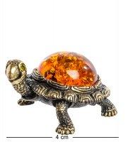 Am-606 фигурка черепаха тортилла (латунь, янтарь)