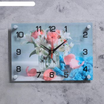 Часы настенные маленький букет 25х35 см, аа, плавный ход