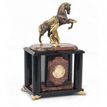 Часы конь с попоной креноид бронза