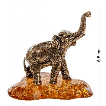 Am- 550 фигурка слон (латунь, янтарь)