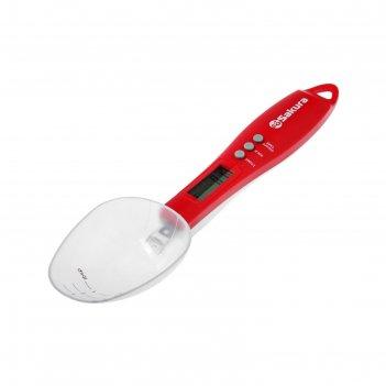 Весы кухонные sakura sa-6083rw, электронные, до 0.3 кг, ложка, красные