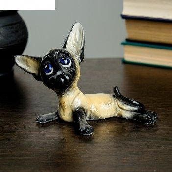 Статуэтка кошка тайская маленькая веселая, 10х16cм