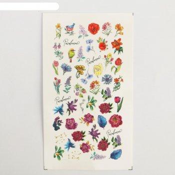 Наклейки для ногтей цветочный сад 5,2 x 10 см