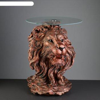 Столик лев голова огромный со стеклом медь