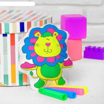 Игрушка-раскраска львенок, маркеры 4 цвета, смываются водой