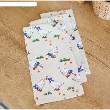 Набор полотенец, размер 48 x 60 см, 3 шт, принт гусики, цвет серый