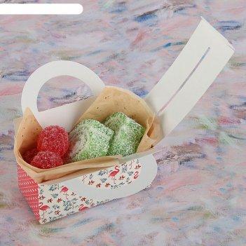 Коробка для сладостей розовый фламинго, 12 х 5.5 х 5.5 см