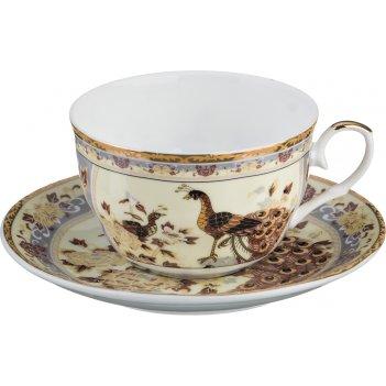 Чайный набор павлин на 1 персону 2 пр. 250 мл. (кор=24наб.)