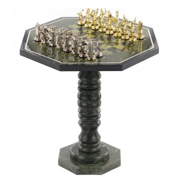 Шахматный стол фигуры метатели дисков змеевик металл 600х600х6