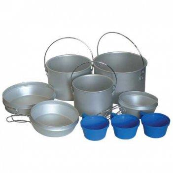 Набор посуды из алюм:3 котла 3,5л., 2,3л., 1,4л., 3 сковороды,3 пл. чашки