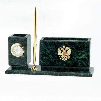 Настольный мини-набор герб камень змеевик
